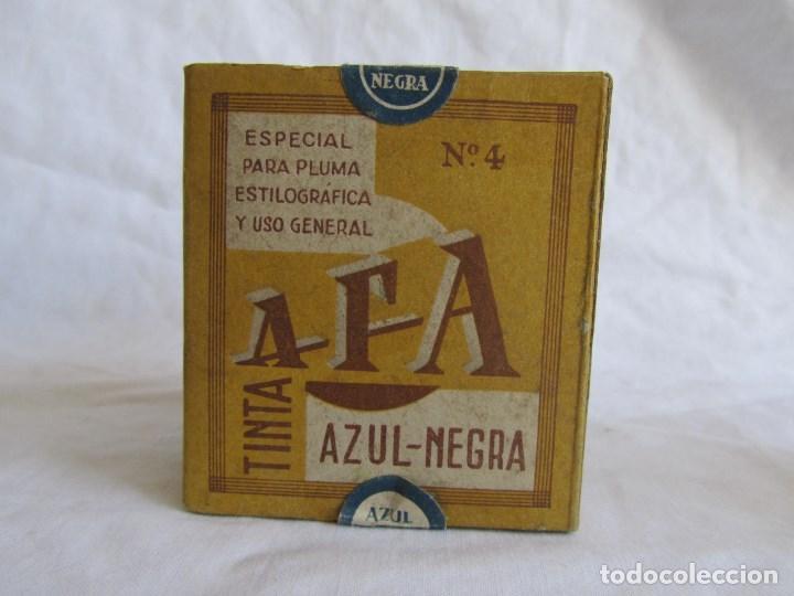 Escribanía: Frasco de vidrio de tinta azul-negra AFA vacio. Caja original - Foto 11 - 79155381