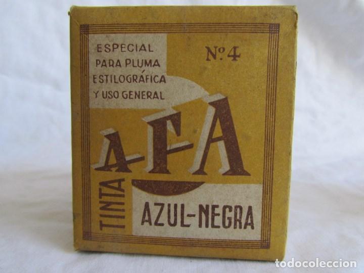 Escribanía: Frasco de vidrio de tinta azul-negra AFA vacio. Caja original - Foto 13 - 79155381