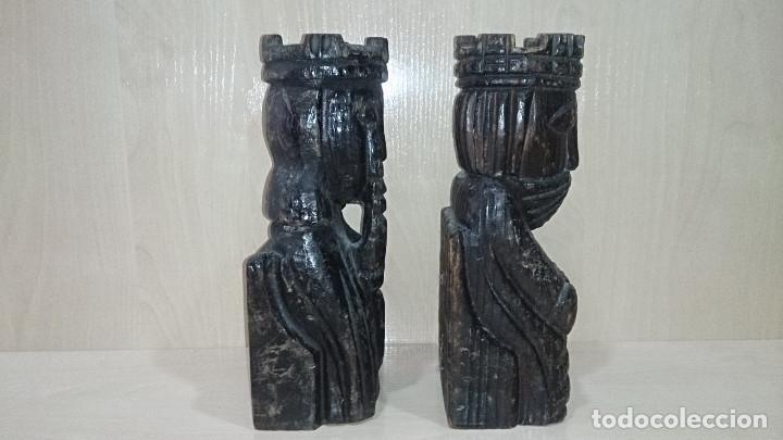 Escribanía: antIguo sujetalibros reyes catolicos tallados en madera - Foto 3 - 79370821