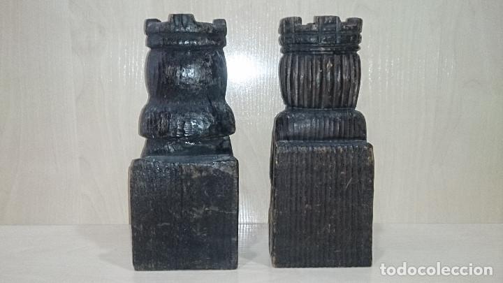 Escribanía: antIguo sujetalibros reyes catolicos tallados en madera - Foto 4 - 79370821