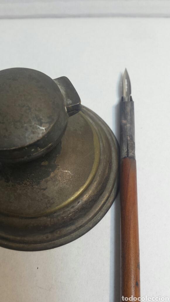 Escribanía: Tintero y pluma antiguos principio siglo XX - Foto 4 - 80148978