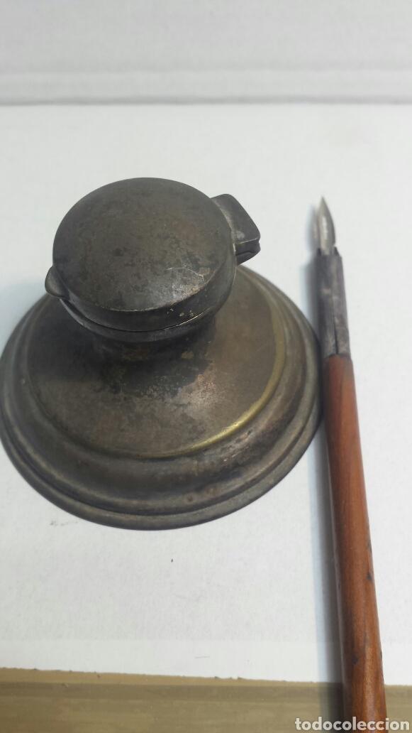 Escribanía: Tintero y pluma antiguos principio siglo XX - Foto 5 - 80148978