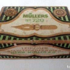 Escribanía: CAJA DE PLUMILLAS MULLERS - LEIPZIGER, NR 720, MEDIDAS 7 X 4,5 X 3 CM. Lote 82103872