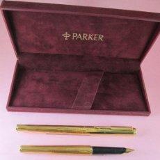 Escribanía: NN6010-PLUMA ESTILOGRAFICA+ROLLER-PARKER 95 ORO INSIGNIA-1990-RARO Y ESCASO-CAJA-MUY BUEN ESTAD. Lote 37513306