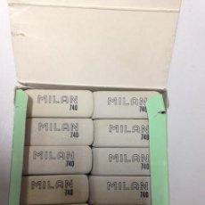 Escribanía: CAJA DE 40 GOMAS DE BORRAR - MILAN Nº 740 - PARA TINTA. Lote 86344036