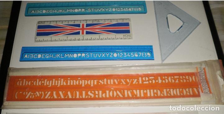 Escribanía: Papelería antigua. Reglas, lote de varias antiguas, con marcas de España, Francia, Reino Unido - Foto 3 - 87187312
