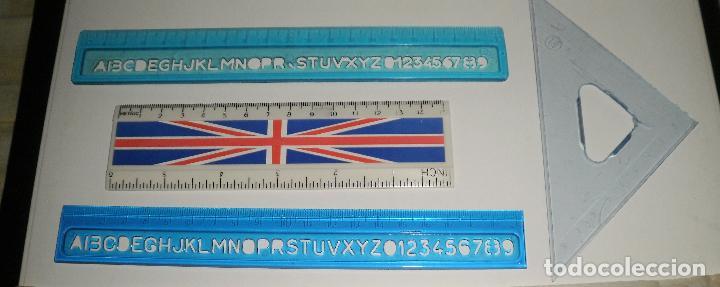 Escribanía: Papelería antigua. Reglas, lote de varias antiguas, con marcas de España, Francia, Reino Unido - Foto 4 - 87187312