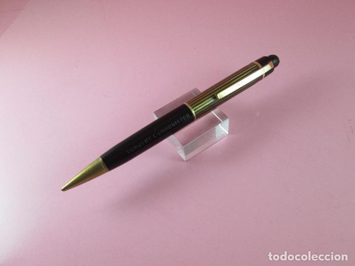 Escribanía: 4875·/portaminas-eversharp SKYLINE-usa-striped green & burgundy-buen estado-punta dorada-ver fot - Foto 2 - 90128816