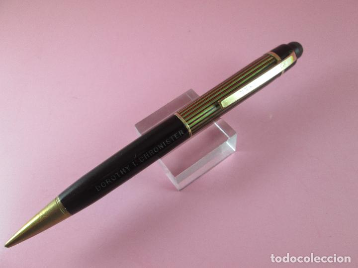 Escribanía: 4875·/portaminas-eversharp SKYLINE-usa-striped green & burgundy-buen estado-punta dorada-ver fot - Foto 4 - 90128816