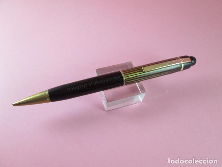 Escribanía: 4875·/portaminas-eversharp SKYLINE-usa-striped green & burgundy-buen estado-punta dorada-ver fot - Foto 7 - 90128816