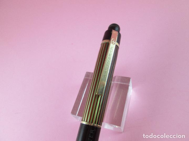 Escribanía: 4875·/portaminas-eversharp SKYLINE-usa-striped green & burgundy-buen estado-punta dorada-ver fot - Foto 10 - 90128816