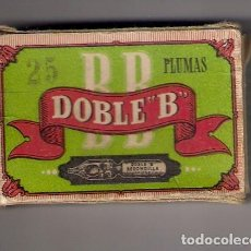 Escribanía: CAJA DE 25 PLUMILLAS ACERO FINO , ANTIGUA - DOBLE B - HAY 23 PLUMILLAS. Lote 162543609