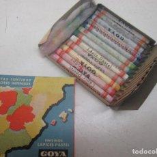 Escribanía: ANTIGUA CAJA 12 BARRITAS FINÍSIMOS LÁPICES PASTEL GOYA, HASSINGER, BARCELONA. Lote 97165923