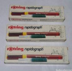 Escribanía: LOTE 3 ESTILOGRAFOS ROTRING RAPIDOGRAPH. 0.20 0.40 0.80. NUEVOS EN CAJA .20 .40 .80 ESTILOGRAFO.. Lote 100004987
