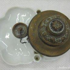Escribanía: TINTERO DE MUSEO S. XIX TAPAS ORIGINALES PORCELANA NUEMERADO. Lote 103097155