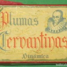 Escribanía: CAJA DE PLUMAS CERVANTINAS DINAMICAS CON SU CAJA AÑO 1947 SIN USAR CON 9 PLUMAS. Lote 105335907
