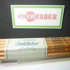 Escribanía: A.W. FABER, ANTIGUO MAZO CON 12 LAPICES GOLDFABER Nº 871 MINA EXTRAGRUESA AZUL FORMATO JUMBO. Lote 112148252
