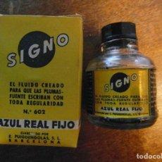 Escribanía: TINTERO VACIO SIGNO CON CAJA. AZUL REAL FIJO. Lote 114683831