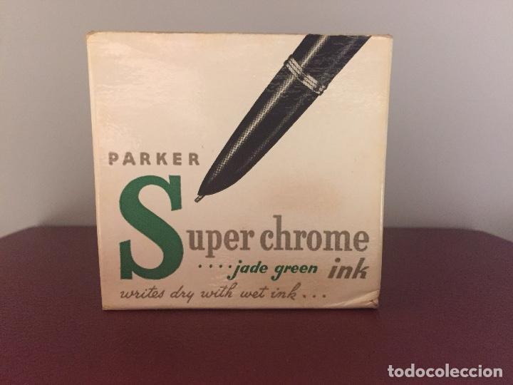 Escribanía: TINTERO PARA PLUMAS ESTILOGRAFICAS PARKER 21 Y 51 SUPER CHROME, USA 1950s - Foto 5 - 115326539