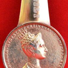 Escribanía: ABRECARTAS SOLINGEN EN BRONCE MEDALLA MARI ANNA MADRE FERNANDO VII PUBLICIDAD CAFES GILI. Lote 117336543