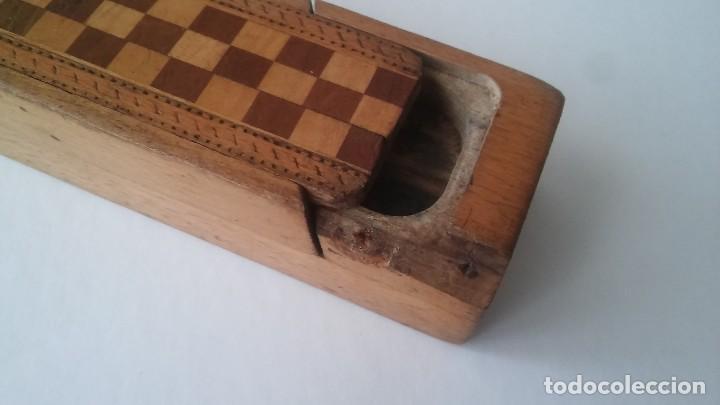 Escribanía: Plumier estuche escolar años 30 en madera marqueteria, diseño dificil raro de encontrar antiguo s XX - Foto 4 - 117485267