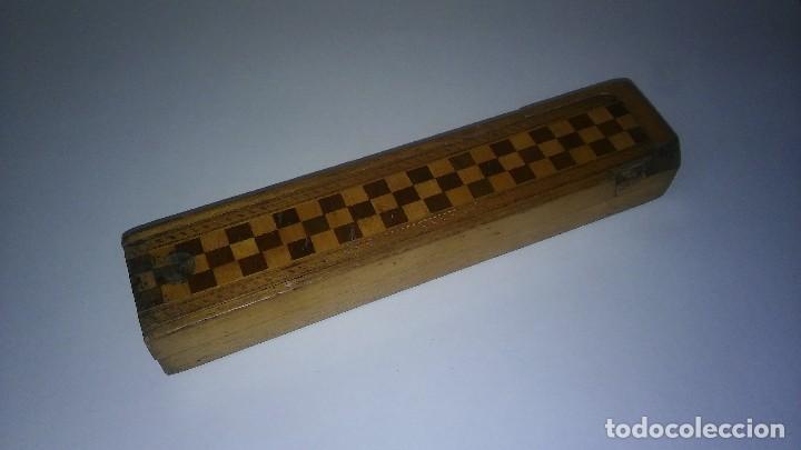 Escribanía: Plumier estuche escolar años 30 en madera marqueteria, diseño dificil raro de encontrar antiguo s XX - Foto 5 - 117485267