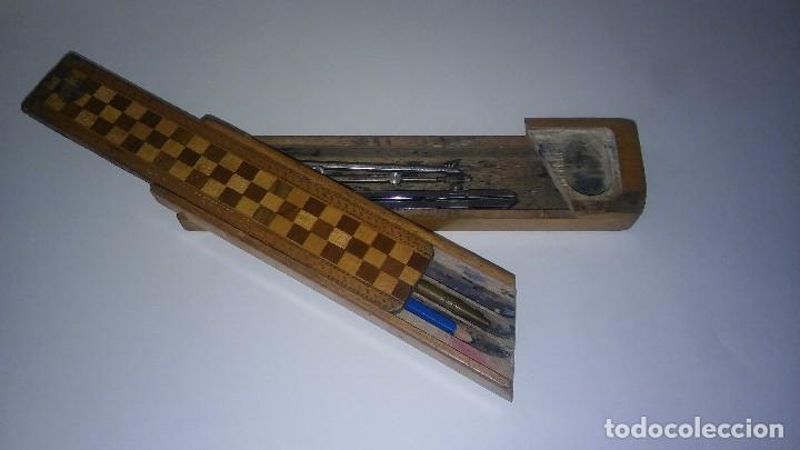 Escribanía: Plumier estuche escolar años 30 en madera marqueteria, diseño dificil raro de encontrar antiguo s XX - Foto 8 - 117485267
