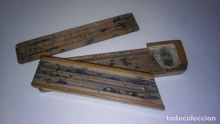 Escribanía: Plumier estuche escolar años 30 en madera marqueteria, diseño dificil raro de encontrar antiguo s XX - Foto 9 - 117485267