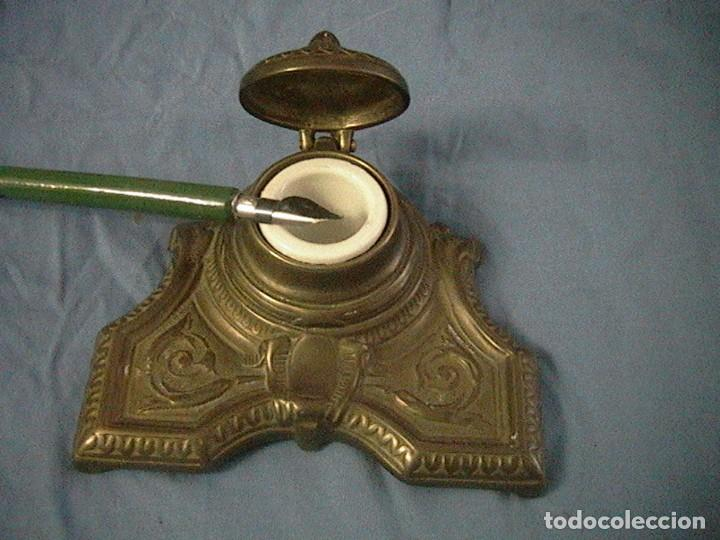 Escribanía: escribanía tintero pluma porcelana bronce - Foto 2 - 123237863