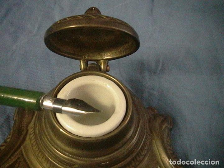 Escribanía: escribanía tintero pluma porcelana bronce - Foto 3 - 123237863