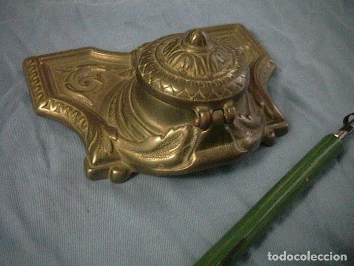 Escribanía: escribanía tintero pluma porcelana bronce - Foto 6 - 123237863