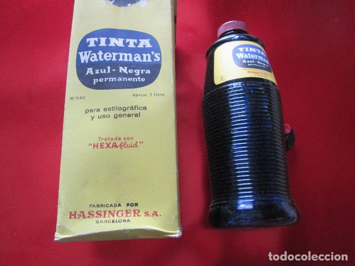 Escribanía: 5034-botella-tinta waterman´s-1 litro-azul/negro-hassinger(barcelona)-nos-aplicador-buen estado - Foto 2 - 124588535