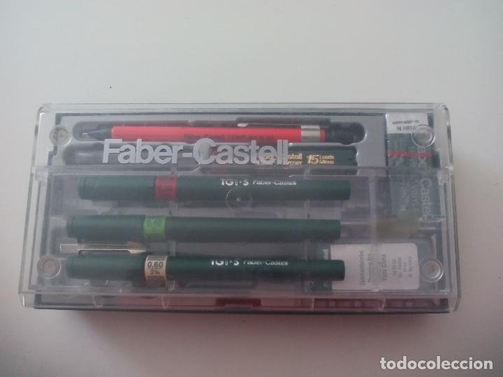 Escribanía: FABER CASTELL TG1 S. ESTUCHE SET CON 4 ESTILÓGRAFOS 0,80, 0,60, 0,40 Y 0,20, PORTAMINAS, GOMA,MINAS. - Foto 5 - 126581215