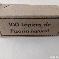 Escrita: ANTIGUA CAJA COMPLETA 100 LAPICES PIZARRA NATURAL/SIN USO.. Lote 192571746