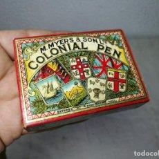 Escribanía: CAJA ORIGINAL THE COLONIAL PEN M.MYERS & SON..ENGLAND ...VICTORIANA ...PLUMILLAS. Lote 131680530