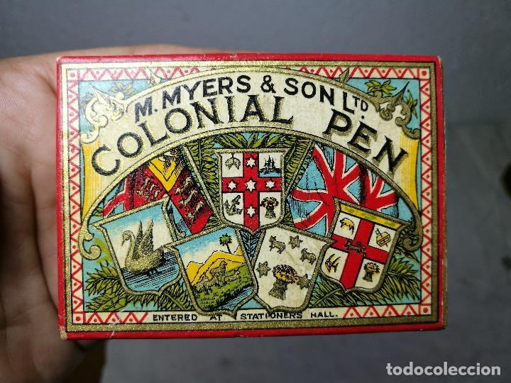 Escribanía: Caja original The Colonial Pen M.MYERS & SON..ENGLAND ...VICTORIANA ...PLUMILLAS - Foto 3 - 131680530