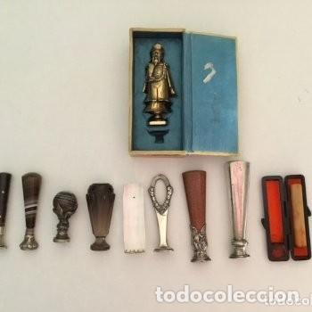 Escribanía: Sello lacre tampón. Ámbar y plata. Siglo XIX. Con iniciales - Foto 5 - 133062298