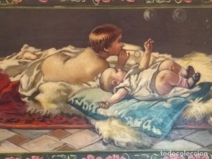 Escribanía: Precioso portafolio art nouveau en piel con escena pintada al oleo - Foto 3 - 134329858
