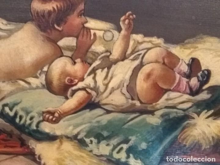 Escribanía: Precioso portafolio art nouveau en piel con escena pintada al oleo - Foto 4 - 134329858
