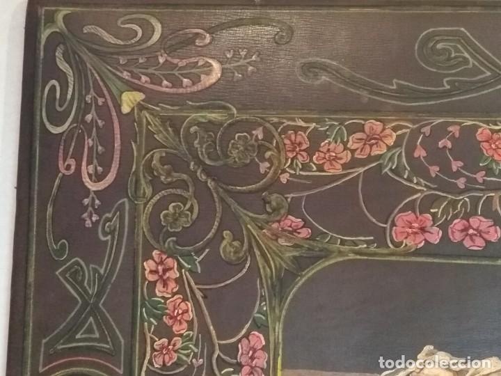 Escribanía: Precioso portafolio art nouveau en piel con escena pintada al oleo - Foto 6 - 134329858