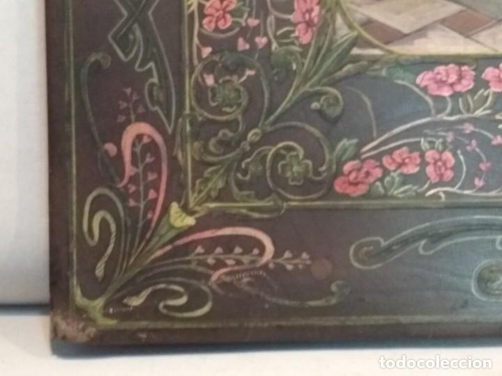 Escribanía: Precioso portafolio art nouveau en piel con escena pintada al oleo - Foto 7 - 134329858