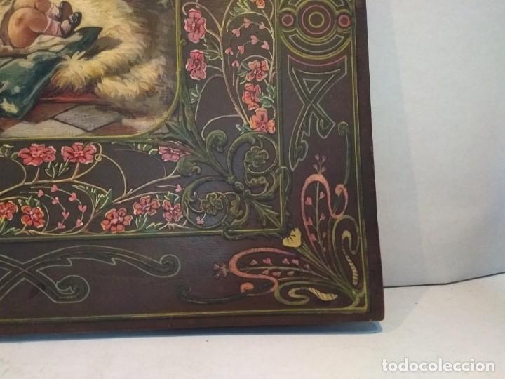 Escribanía: Precioso portafolio art nouveau en piel con escena pintada al oleo - Foto 9 - 134329858