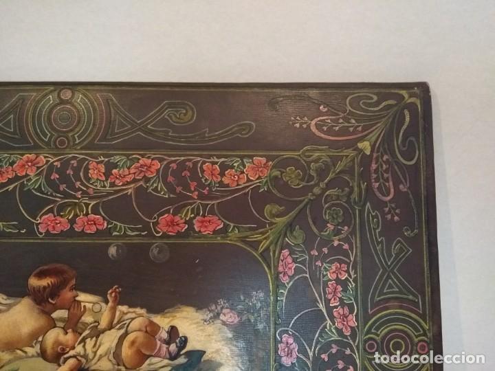 Escribanía: Precioso portafolio art nouveau en piel con escena pintada al oleo - Foto 10 - 134329858