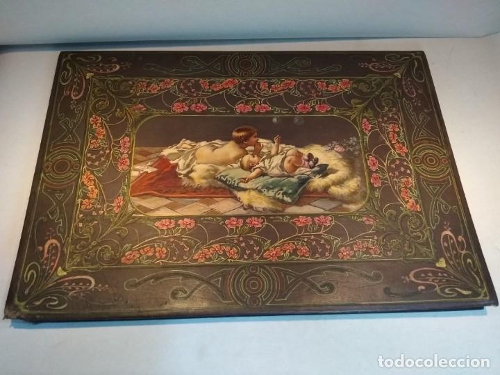 Escribanía: Precioso portafolio art nouveau en piel con escena pintada al oleo - Foto 32 - 134329858