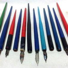Escribanía: LOTE 12 ANTIGUOS PORTA PLUMILLAS DE MADERA.. Lote 173831667