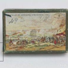 Escribanía: ANTIGUA CAJA DE PLUMILLAS - SERGENT MAJOR 100 PLUMES - DIBUJO BATAILLE DE JEMMAPES 1792 - VACÍA. Lote 141174557