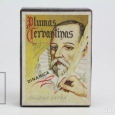 Escribanía: ANTIGUA CAJA DE PLUMILLAS - PLUMAS CERVANTINAS DINAMICA / CALIDAD EXTRA, INOXIDABLE - 1952 - LLENA. Lote 141174616