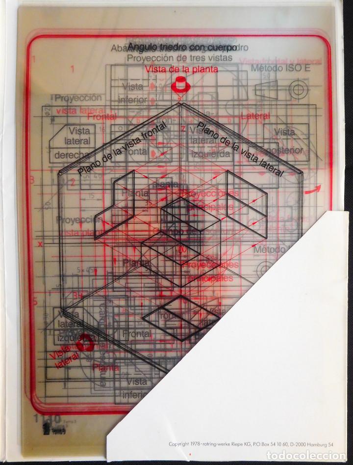 Escribanía: ROTRING - CARPETA 11 LÁMINAS DIBUJO TÉCNICO - ED.1986 TEMA 3 - PROYECCIÓN PARALELA ORTOGONAL ¡RARO! - Foto 2 - 247399050