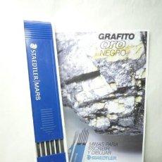 Escribanía: STAEDTLER CAJA DE 12 MINAS GRAFITO 2 MM MARS LUMOGRAPH 200 5H. GERMANY 70'S. Lote 146026082