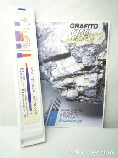 Escribanía: STAEDTLER CAJA DE 12 MINAS GRAFITO 2 MM MARS LUMOGRAPH 200 5H. GERMANY 70S - Foto 2 - 146026082